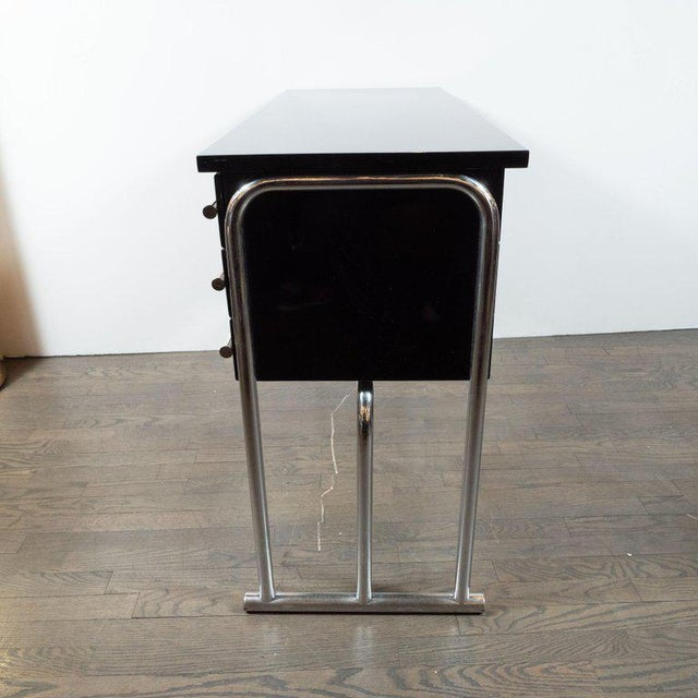 Art Deco Machine Age Chrome & Black Lacquer Writing Desk / Vanity For Sale - Image 10 of 11