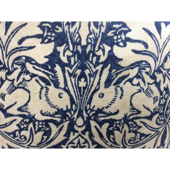 "William Morris ""Brer Rabbit"" in Indigo & Off-White Pillows - a Pair - Image 5 of 6"