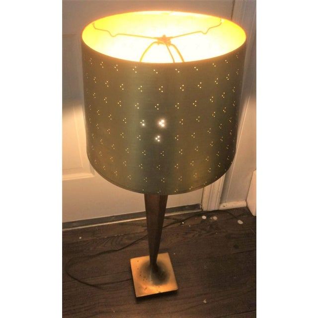 Paper Vintage Perforated Gold Lamp Shades - a Pair For Sale - Image 7 of 8