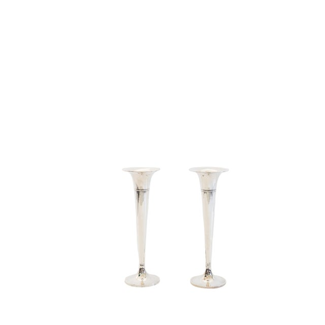Sterling Silver Trumpet Vases - a Pair For Sale