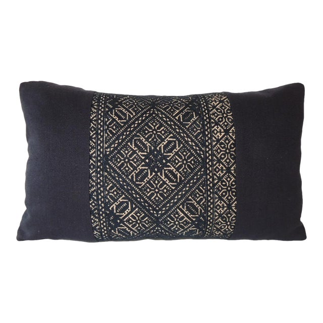 Woven Black and Indigo Fez Textile Lumbar Decorative Pillow For Sale