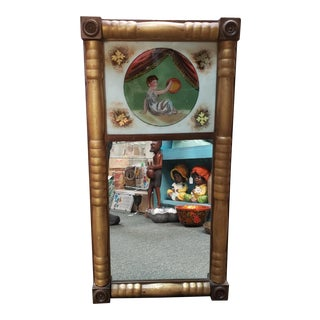 Late 19th Century French Trumeau Gilded Eglomise Wall Mirror For Sale