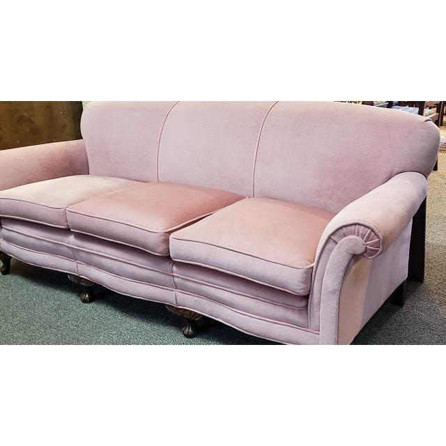 Traditional Vintage Sofa W/ Light Pink Fabric C.1960s For Sale - Image 3 of 6