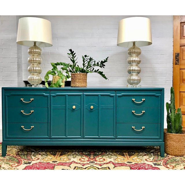 Gorgeous solid wood credenza by Drexel with new, modern satin lacquer finish. Original hardware buffed and shined to it's...