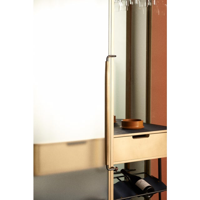 Not Yet Made - Made To Order Plano Bar Cabinet in Bronze, Curved Glass Doors, Waxed Leather Bottle Slings For Sale - Image 5 of 12