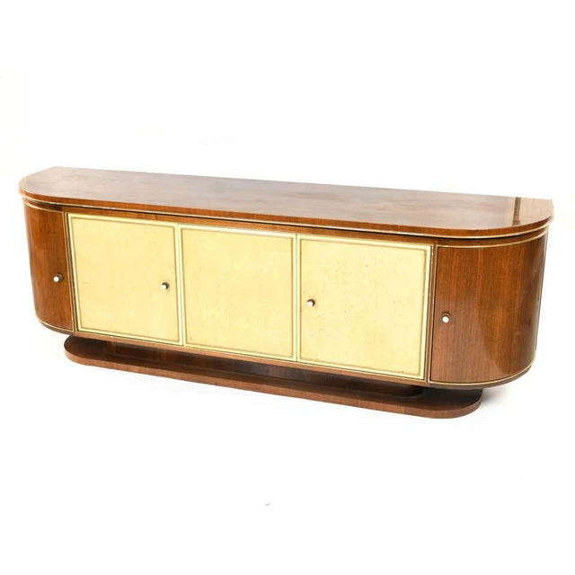 French Art Deco Sideboard or Credenza With Parchment Front, Monumental For Sale - Image 9 of 13