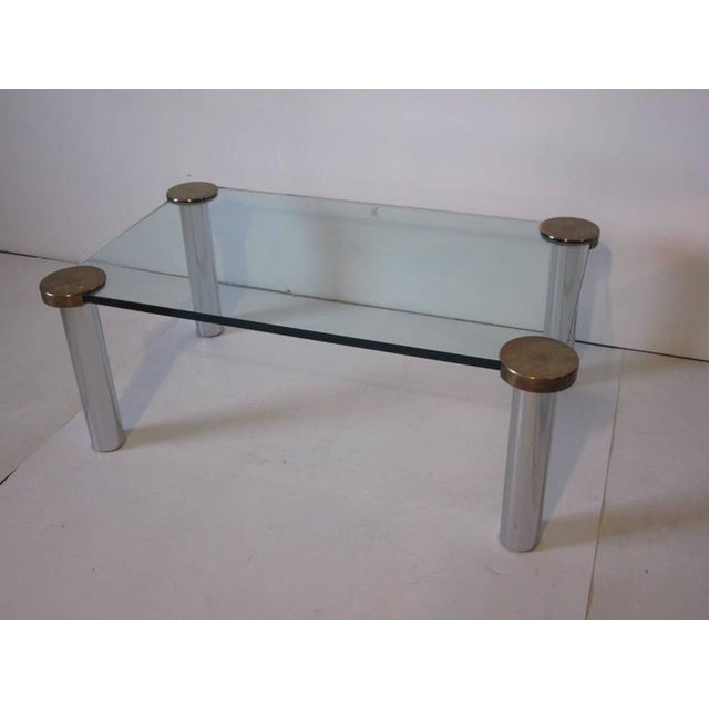 1980s 1970s Chrome Brass and Plate Glass Coffee Table For Sale - Image 5 of 5