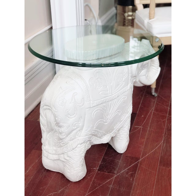 Glass Top Elephant Figure Side Table For Sale - Image 4 of 8