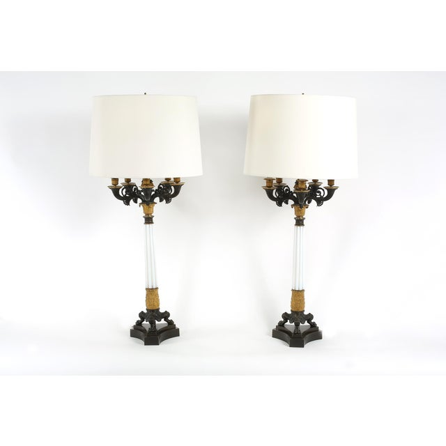 French Gilt Bronze / Art Glass Candelabras Lamp - a Pair For Sale - Image 3 of 12