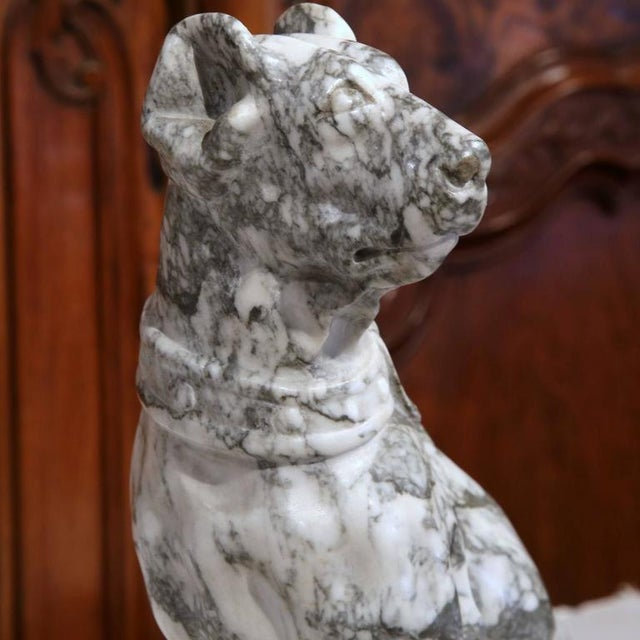 19th Century French Gray & White Marble Dog Figure For Sale - Image 4 of 10