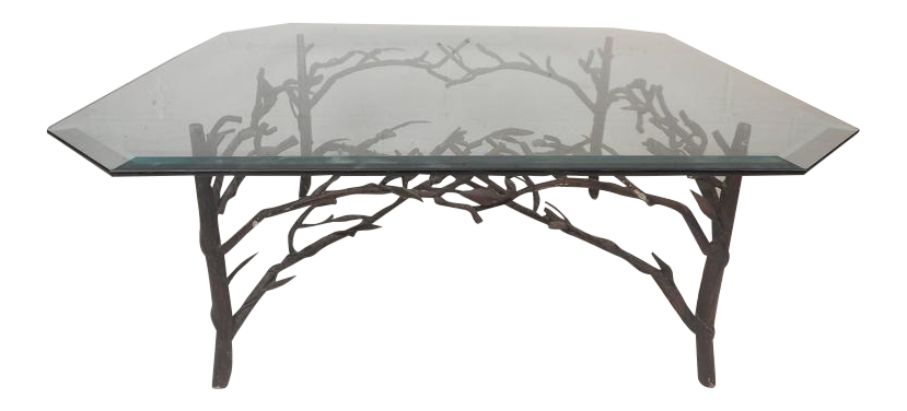 Alberto Giacometti Style Contemporary Modern Metal U0026 Glass Coffee Table For  Sale