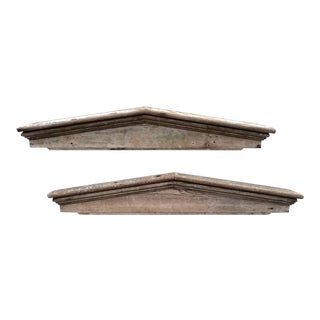 Architectural Pediments of Whitewashed Pine, Pair