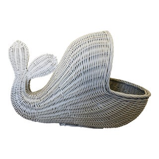 Monumental White Wicker Whale Basket For Sale