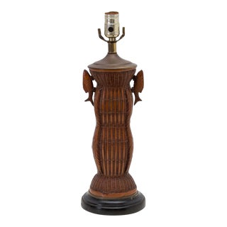 Woven Rattan Lamp Asian Chinoiserie With Fish Handles For Sale