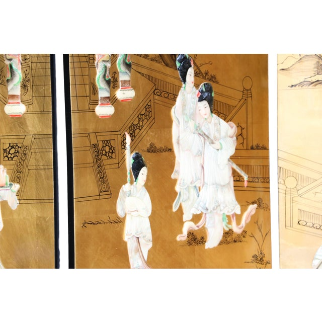 Chinese Four Panel Gilt Lacquer Floor Screen - Image 6 of 9