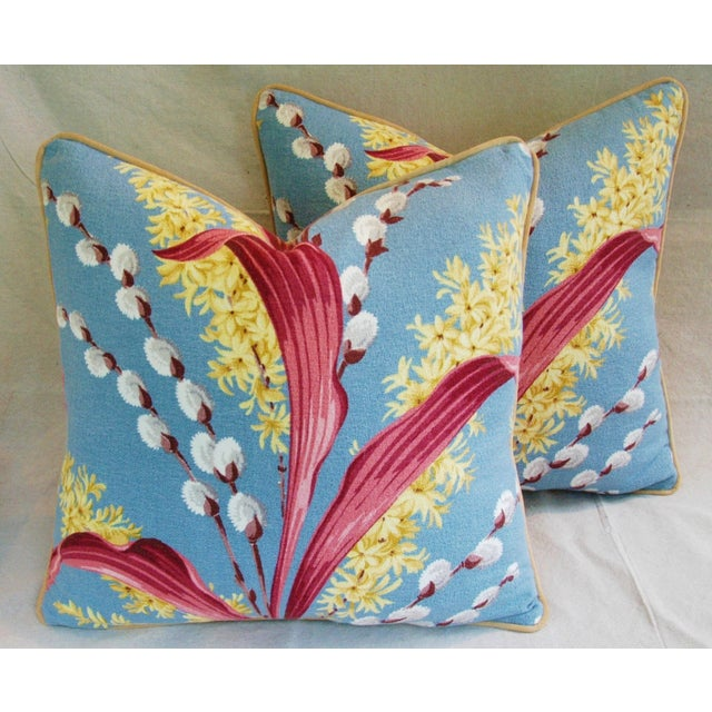 Vintage Tropical Floral Barkcloth Pillows - a Pair - Image 6 of 11