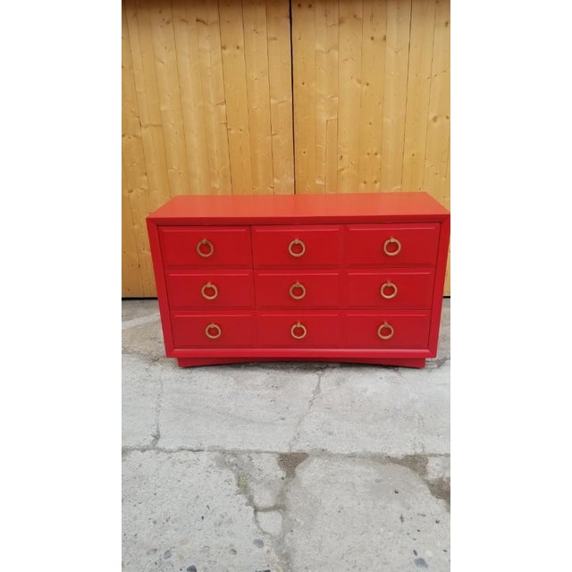 Red Mid Century Modern t.h. Robsjohn-Gibbings for Widdicomb Credenza Dresser Freshly Painted in Red Paint For Sale - Image 8 of 8