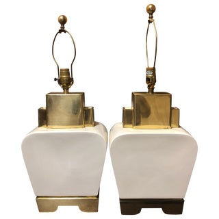 1980s Vintage Ceramic and Brass Table Lamps by Chapman - a Pair For Sale