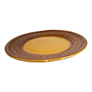 Decorative Brown Ceramic Plates - a Pair