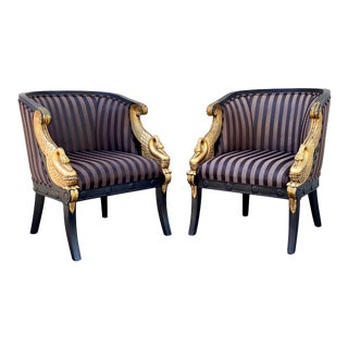 French Empire Gilt Swan Carved Club Chairs - a Pair For Sale