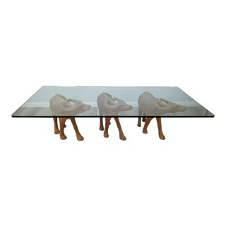 Vintage Sculptural Carved Wood Buffalo Coffee Table For Sale