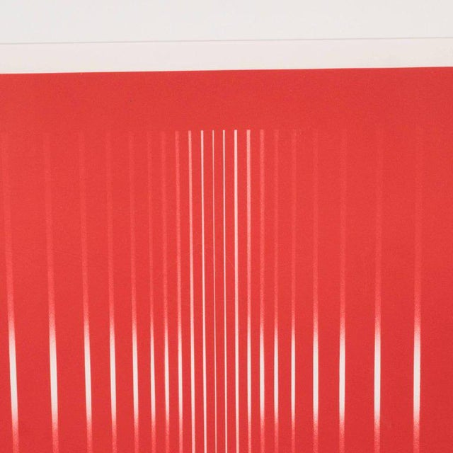 Dynamic Mid-Century Modern Op-Art Signed Serigraph by Ennio Finzi in Vibrant Red For Sale - Image 4 of 10