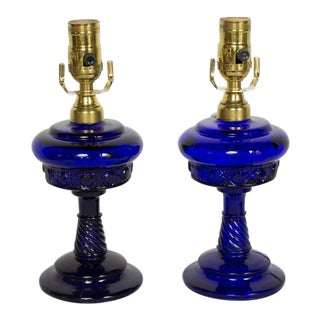 Cobalt Blue Electrified Oil Lamps - a Pair For Sale
