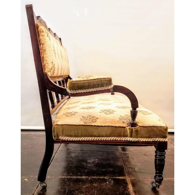 1900 - 1909 English Edwardian Adam Style Marquetry Salon Settee For Sale - Image 5 of 13