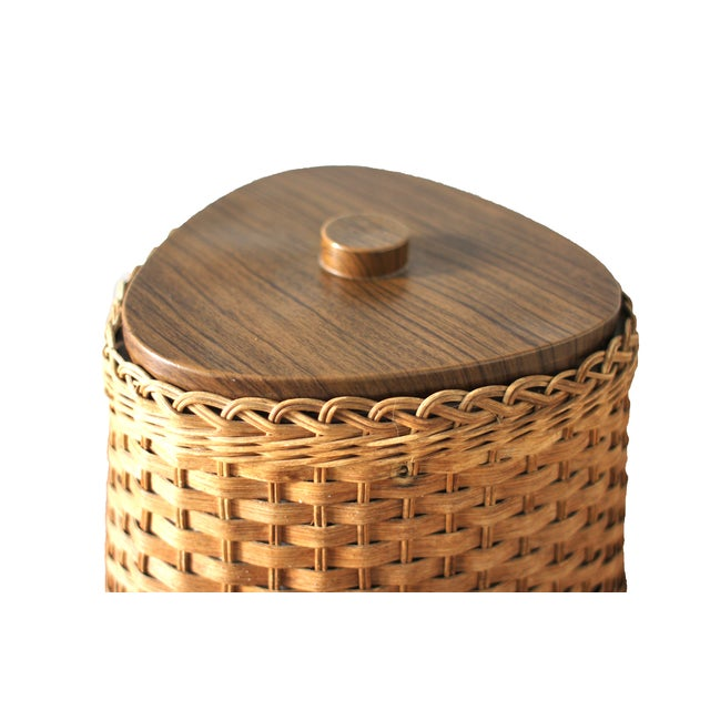 Boho Chic Mid-Century Wicker Ice Bucket For Sale - Image 3 of 4