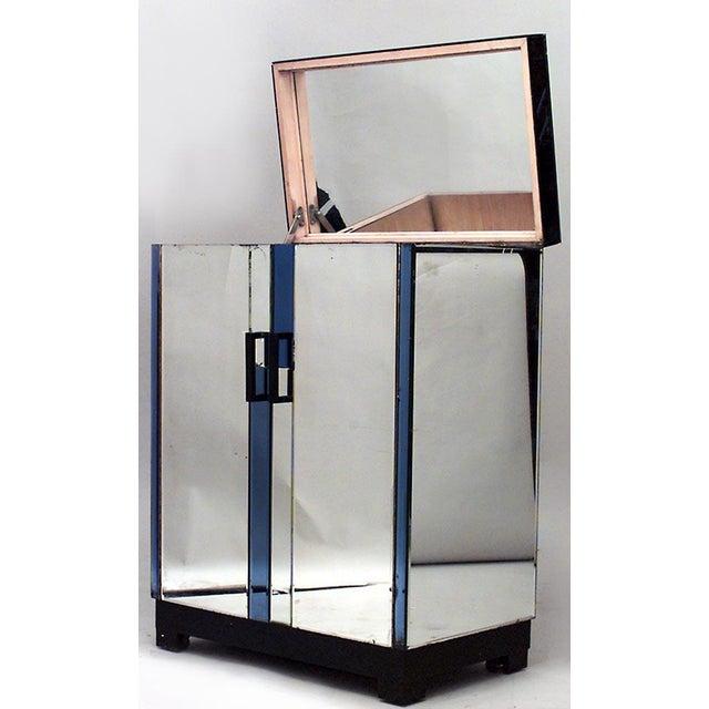 English Art Deco Mirrored 2 Door Flip Top Bar Cabinet For Sale - Image 4 of 6