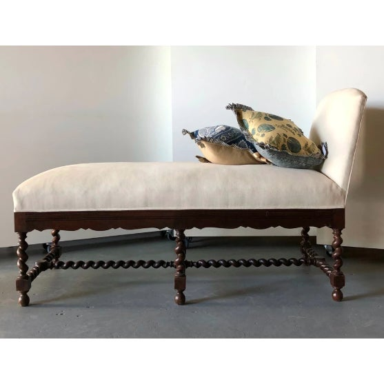 White Elizabethan-Style Chaise For Sale - Image 8 of 8