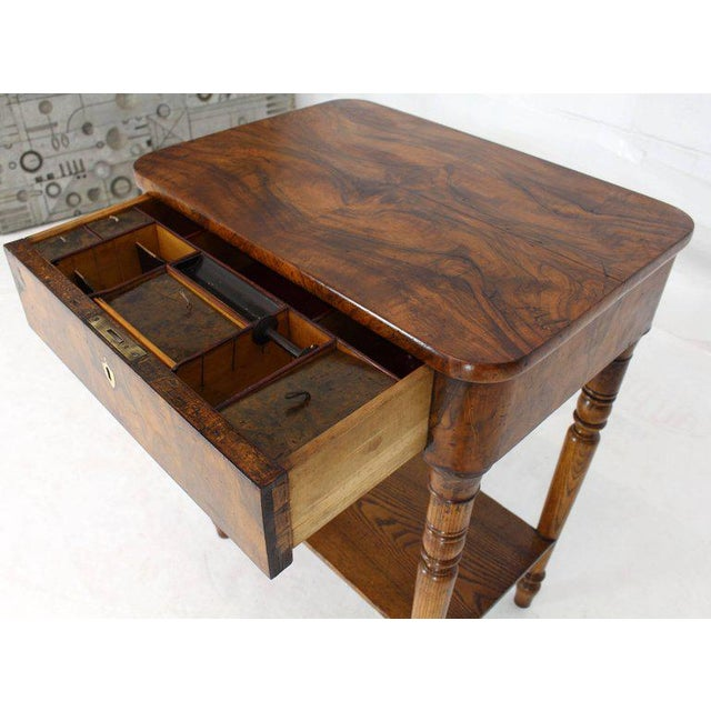 Lacquer 19th Century Biedermeier Burl Walnut One Drawer Sewing Stand Table For Sale - Image 7 of 13