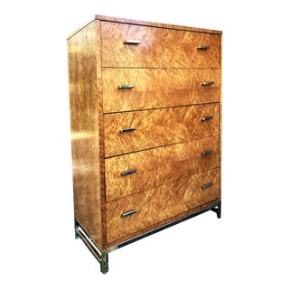 1970s Lane Furniture Birdseye Maple Baughman Style Highboy For Sale
