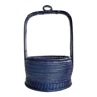 Vintage Chinese Hanging Wicker Basket Planter