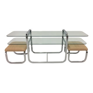 Chrome and Glass Two-Tier Console Table With Matching Benches For Sale