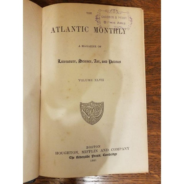 "Blue Vintage Nine Volume Set ""The Atlantic Monthly"" Leather Books For Sale - Image 8 of 9"