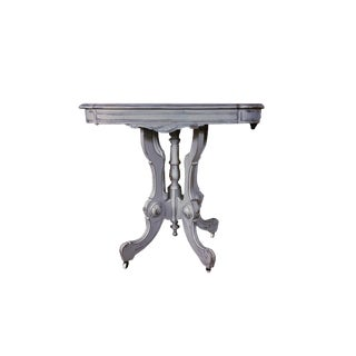 Antique Victorian Eastlake Carved Table Shabby Cottage Gray Table French /Gustavian Style Grey Distressed Table For Sale