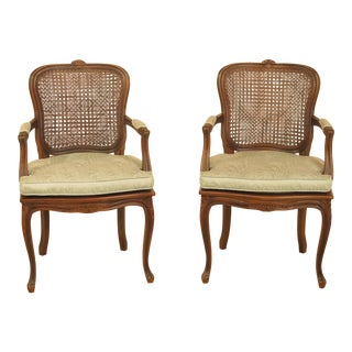 Ethan Allen French Louis XV Style Cane Back Open Arm Chairs - A Pair