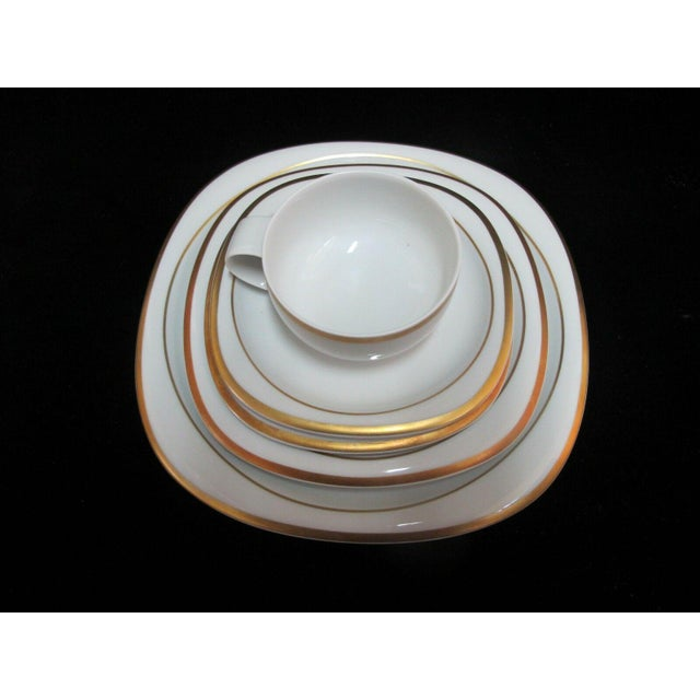 Rosenthal studio line, Germany, Banquet Suomi series, white with gold band. 5pc setting set includes the following: Cup -...