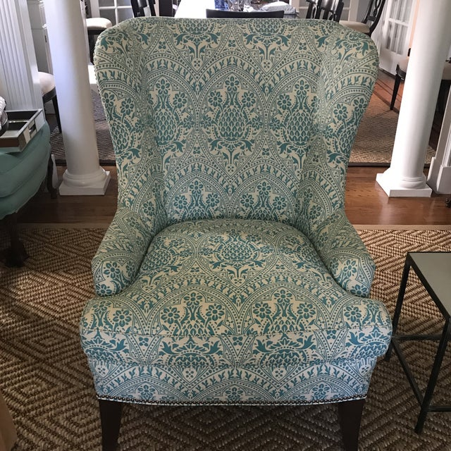 Beautiful fully custom designer modern wing back chair newly upholstered in a gorgeous aqua on tint Quadrille China Seas...
