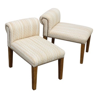 Wheat Straw Upholstered Slipper Chairs With Nail Head Trim - a Pair For Sale