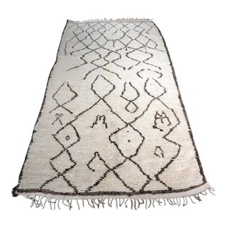 "Bellwether Rugs ""Picasso"" Beni Ourain Moroccan Hand Knotted Area Rug - 4'x8'1"" For Sale"