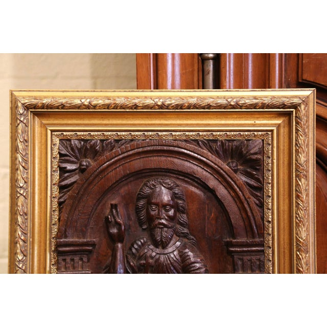Religious 18th Century Carved Oak Panel of Jesus Christ Blessing in Giltwood Frame For Sale - Image 3 of 6