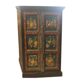 1920s Art Deco Hand-Painted Armoire Cabinet Chest For Sale