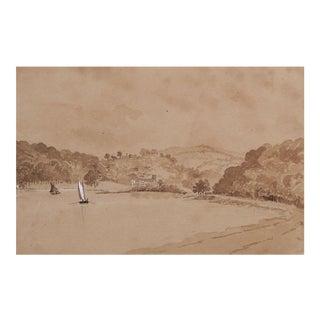 Plein Air Harbor Scene Watercolor For Sale