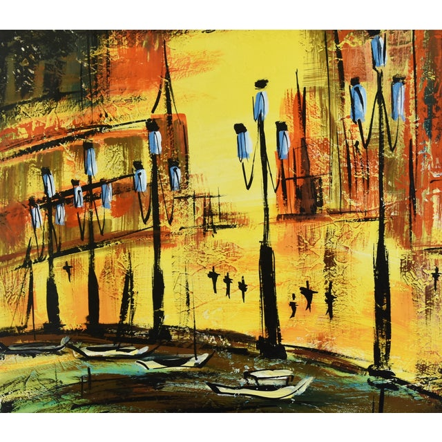 Abstract Hollywood Midcentury European Cityscape Oil Painting For Sale - Image 3 of 7