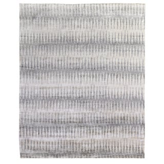 Dartford Hand-Knotted Bamboo/Silk Gray/Silver/Multi Rug - 8'x10' For Sale
