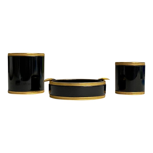 1940s Black and Gold French Opaline Smoking Set, 3 Pieces For Sale
