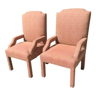 1960s Mid Century Modern Salmon Pink Tweed Chairs - a Pair For Sale