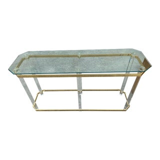 1980s Brass and Lucite Console Table For Sale